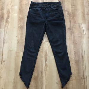 Joe's Jeans Black Denim Size 27 Raw Hem High Rise
